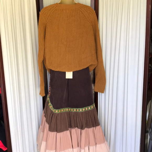 Free People cable knit pullover sweater Sz L